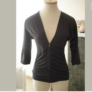 J CREW Cardigan Zip Ruched Front Charcoal Gray XXS